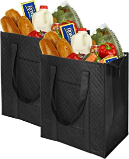 VENO Reusable Insulated Grocery Bags, 2 Pack, Black, 7.5 Gallon Thermal Cooler Tote, Reinforced Handles, Zipper Closure, Folds Flat For Shopping, Hot or Cold Food Delivery, Made from Recycled Material