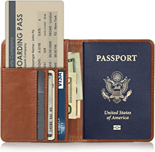 RFID Blocking Premium PU Leather Passport Holder Travel Wallet Cover Case