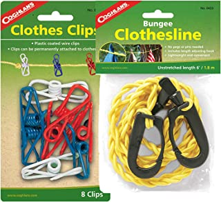Coghlans Bungee Clothesline and 8-Pack Clothes Clips. Making drying your clothes so much easier this camping trip.