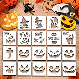 Halloween Stencils for Painting, 20 Pack Plastic Painting Stencils, Reusable Pumpkin Expression Templates for DIY Card, Craft Art Drawing Painting Spraying, Window (Halloween Stencils)
