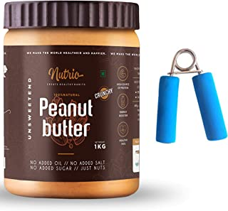 Nutrio Natural Peanut Butter Unsweetened 1KG (Crunchy | Organic) + Free Hand Exerciser(1 pc) (1Kg)