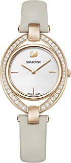 Swarovski Women's Gray Quartz Watch, Analog Display and Leather Strap 5376830