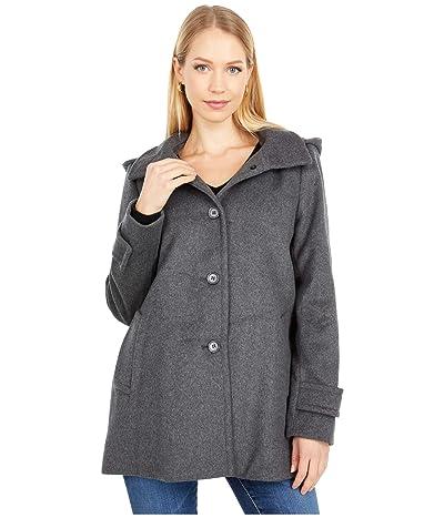 LAUREN Ralph Lauren Wool A-Line Reefer Coat with Removable Hood (DF Grey) Women