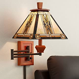 Walnut Mission Collection Plug-in Swing Arm Wall Lamp - Robert Louis Tiffany