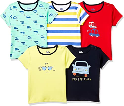 Baby Boy s Starred Regular fit T Shirt Pack of 5 BTEEPO5 HS A Multicolor 0 3 Months
