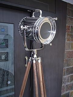DESIGNER Chrome Nautical SPOT LIGHT Trépied de sol LAMP énorme vintage industriel