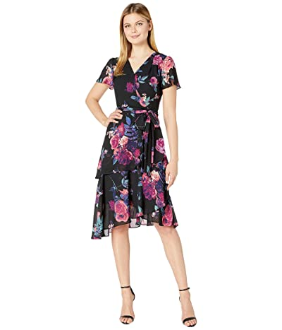 Tahari by ASL Short Sleeve Printed Chiffon Dress with Asymmetrical Tiered Hemline (Pink/Purple Floral) Women