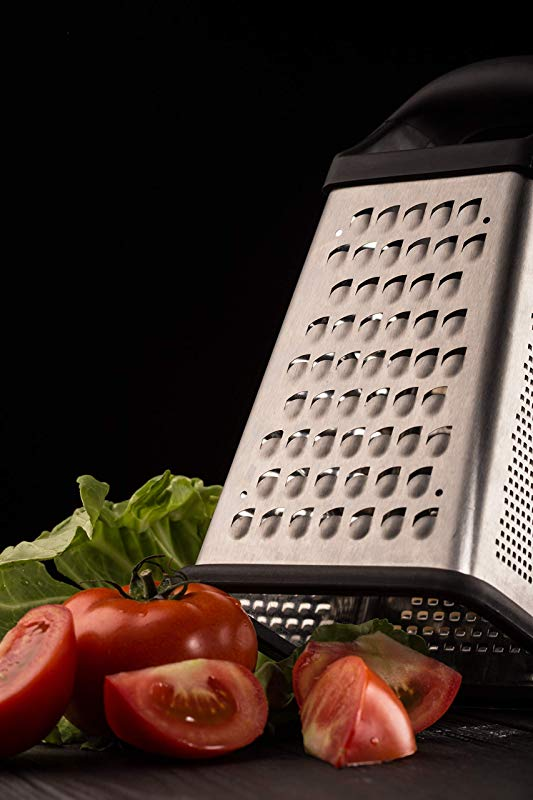 Professional Premium Etched Box Grater Stainless Steel 4 Sided Box Dishwasher Safe Extra Large