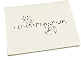 "Esposti Celebration of Life Condolence Book - Open Format Inner Pages - Funeral Guest Registration - White - (Size 8.9"" x ..."