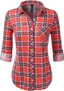 Womens Long Sleeve Collared Button Down Plaid Flannel Shirt