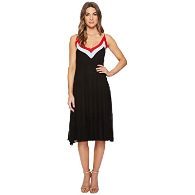 CATHERINE Catherine Malandrino Olympe V-Neck Color Block Pleated Dress (Black/Powder Blue/Red) Women