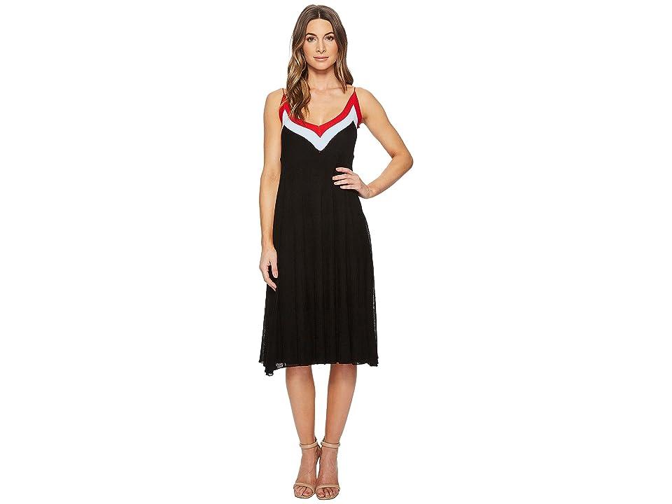 CATHERINE Catherine Malandrino Olympe V-Neck Color Block Pleated Dress (Black/Powder Blue/Red) Women