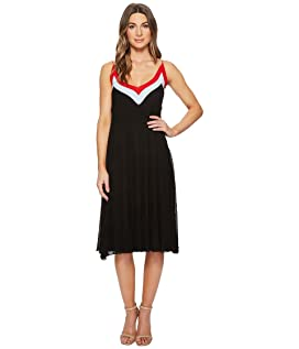 Olympe V-Neck Color Block Pleated Dress