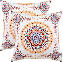 CaliTime Pack of 2 Cozy Fleece Throw Pillow Cases Covers for Couch Bed Sofa Fantasy Compass Floral Print 18 X 18 Inches Main Orange