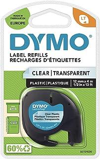 Dymo LetraTag Etiquetas de plástico, rollo de 12 mm x 4 m,