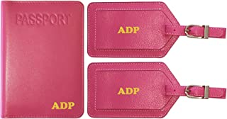 Personalized Monogrammed Hot Pink Leather RFID Passport Cover Holder and 2 Luggage Tags