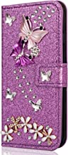Miagon Diamond Case for Samsung Galaxy A51 Glitter Rhinestone Butterfly Flower PU Leather Folio Flip Wallet Cover Magnetic Closure Card Slots Purple Estimated Price : £ 6,59