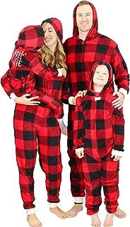 Matching Family Pajama Onesie Pajama Holiday Red Plaid Union Suit (Infant Deer Santa, 12M-18M)