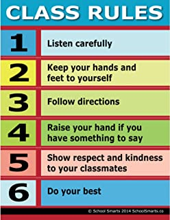 Class Rules Chart by School Smarts ?Durable Material Rolled and Sealed in Plastic Poster Sleeve for Protection. Discounts are in The Special Offers Section of The Page.