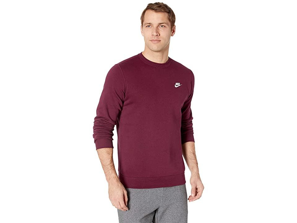Nike Club Fleece Pullover Crew (Night Maroon/White) Men