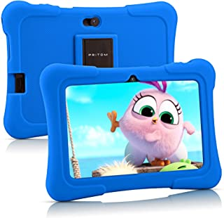Pritom 7 inch Kids Tablet, Quad Core Android 10,16GB Storage, WiFi, Bluetooth, Dual Camera, Educationl, Games, Parental Co...