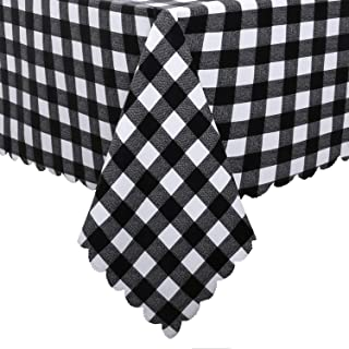 Hiasan Homedocr Checkered PVC Rectangle Tablecloth 100% Waterproof Spillproof Stain Resistant Wipeable Vinyl Table Cloth for Outdoor Picnic Kitchen Dining, 54 x 80 Inch, Black and White
