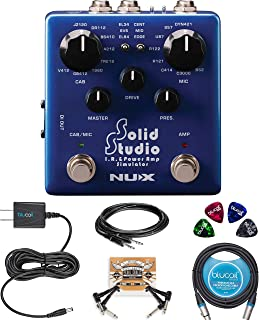 NUX NSS-5 Solid Studio IR Power Amp Simulator Pedal Bundle with Hosa 10-FT Straight Instrument Cable (1/4in), Blucoil 9V Power Supply, 10-FT Balanced XLR Cable, 2 Pedal Patch Cables and 4 Guitar Picks