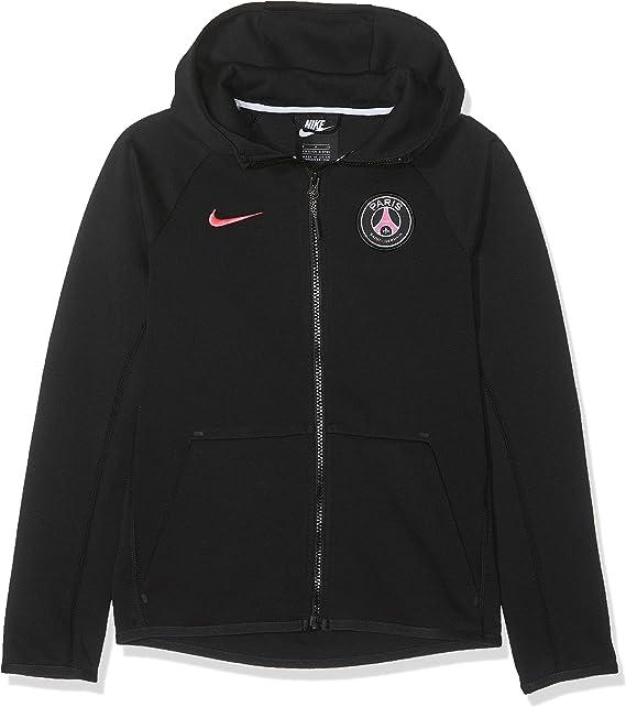 Nike Paris Saint-Germain Tech Fleece Full-Zip Essentials, Felpa Unisex Bambini, Black/Hyper Pink, XS