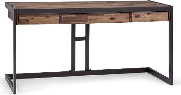 Simpli Home AXCERN 14 Erina 实心金合欢木现代工业 60 英寸宽书写办公室办公桌质朴自然老化棕色