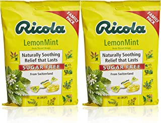 Ricola Sugar Free Lemon Mint Herbal Cough Suppressant Throat Drops, 45ct Bag (Pack of 2)