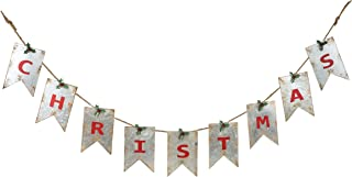 Christmas Distressed White Pennant with Red Letters 67.5 x 7 Galvanized Metal Banner Decoration