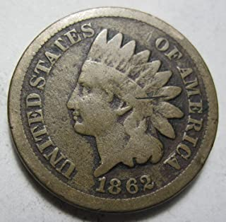 1862 U.S. Indian Head Cent Copper-Nickel Penny Good to VG