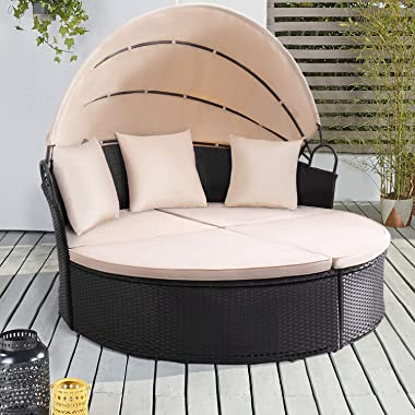 KaiMeng Patio Furniture Round Outdoor Daybed with Retractable Canopy Wicker Rattan Sectional Sofa for Lawn Garden Backyard Po