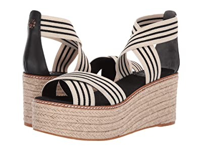 Tory Burch 50 mm Frieda Platform Espadrille (Black/White Stripe/Perfect Black) Women