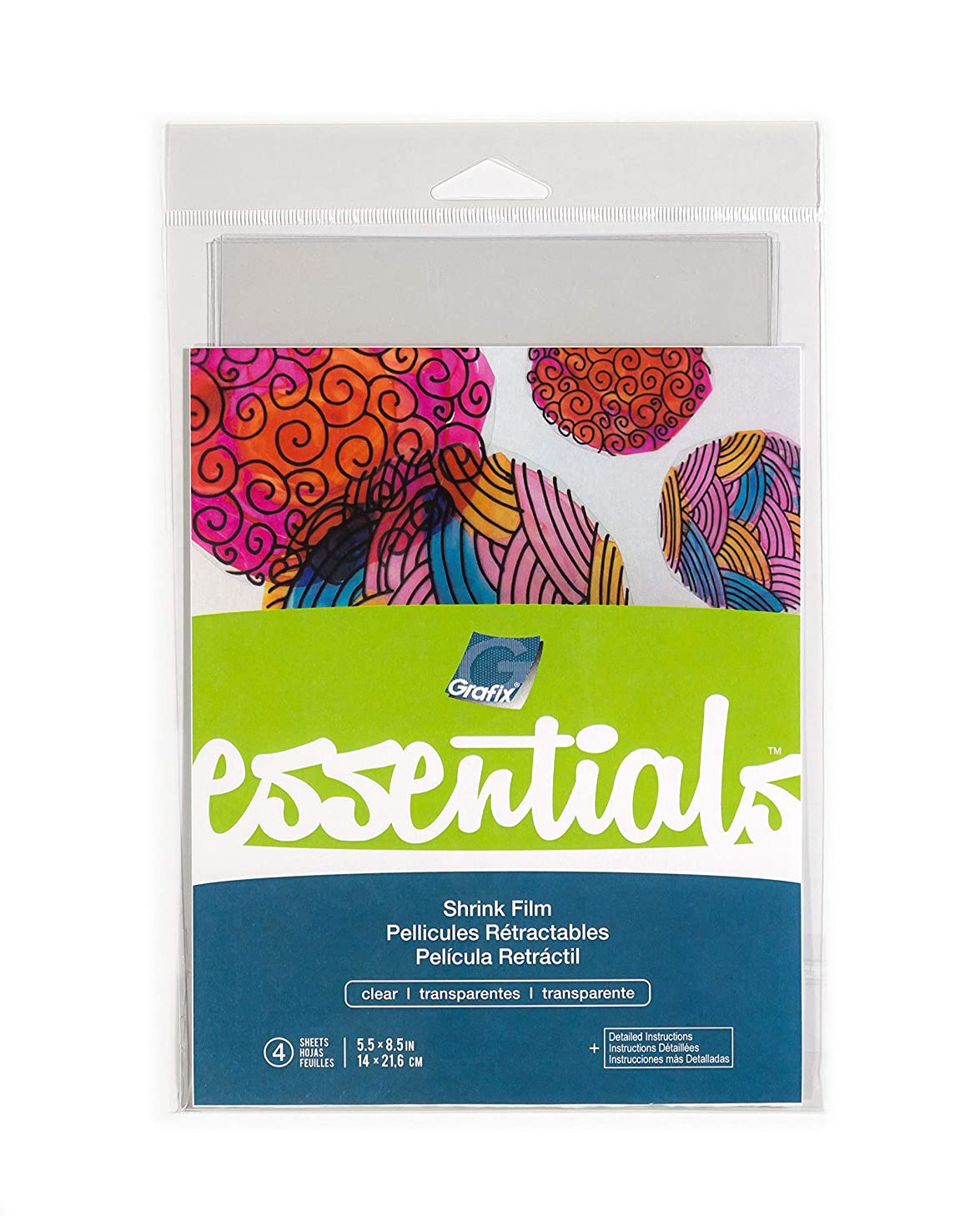 """Grafix Essentials Clear Shrink Film for Creative Art, Crafts, and DIY Embellishments - 5.5"""" X 8.5"""", Pack of 4"""