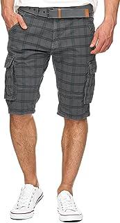 Caballero Monroe Check Pantalones Cortos Cargo a Cuadros con 6 Bolsillos y cinturón de 100 % algodón   Más Corto Pantalón Bermuda Verano Pantalones Men Pants para Hombres