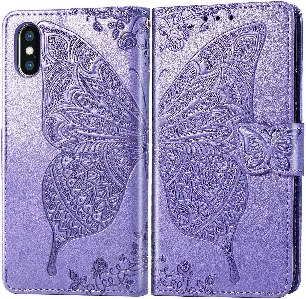 MEUPZZK Wallet Case for iPhone X/iPhone Xs, Embossed Butterfly Flower Premium PU Leather [Folio Flip] [Kickstand] [Card Slots] [Wrist Strap] [5.8 inch] Cover for iPhone X/XS (A-Lavender)