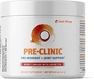 SaltWrap Pre-Clinic Natural Pre Workout & Joint Pain Relief Supplement, Organic Energy Powder with Type 2 Collagen for Inf...