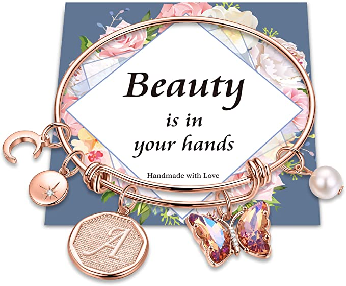 Butterfly Charm Bracelets for Women Girls, 14k Rose Gold Plated Beautifully Butterfly Charm Bangle Bracelet Expandable 26 Letters Initial Charm Butterfly Bracelets for Women Girls Jewelry Gifts