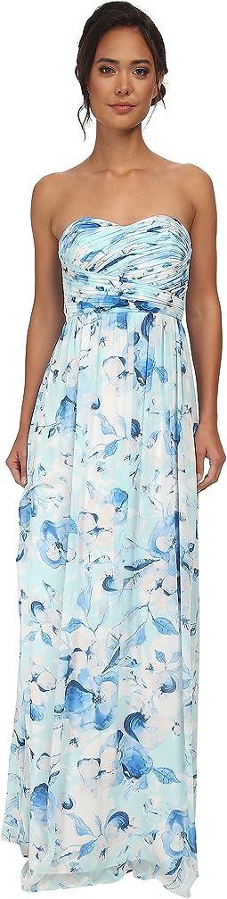 Stephanie Long Printed Floral Chiffon Dress