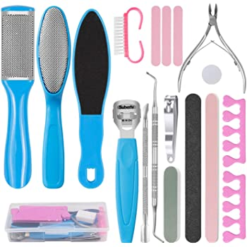 VIPPLUS Pedicure Kit 20Pcs/set Professional Pedicure Tools for Foot File Care Nail Salon Spa Stainless Steel Ingrown Toenail Clipper Foot Scrubber Dead Skin Remover
