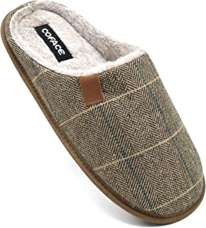 Pantofole da Uomo Invernali Plaid, Comoda Memory Foam Calde Scarpe da Casa in Lana con Suola Antiscivolo 40-47