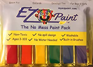 EZpaint 6 pc. Primary Paints - washable, non toxic paint. No spill Design. EZ cards included in every set
