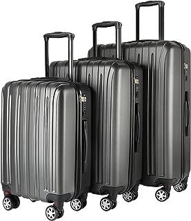 Travel Luggage Sets 3-piece 28'' 24'' 20'' Hardshell Carry On Suitcase Set Underseat with TSA Lock, Hardsided Case Large R...