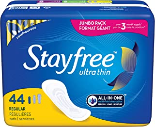 Stayfree Ultra Thin Regular Pads For Women, Wingless, Reliable Protection and Absorbency of Feminine Moisture, Leaks and Periods, 44 count - Pack of 4