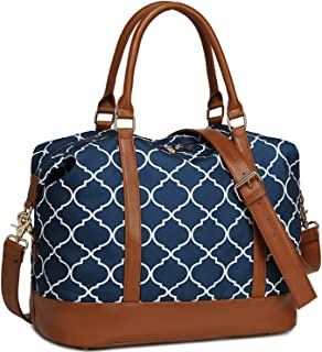 Women Ladies Weekender Bag Overnight Carry-on Tote Duffel in Trolley Handle (Geom Navy Blue)