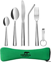 Tapirus Camping Eating Utensils To Go   Durable Stainless Steel Lightweight Construction Flatware   Travel Mess Cutlery Kit With Spoon, Teaspoon, Knife, Fork & Bottle Opener   Comes In A Carrying Case