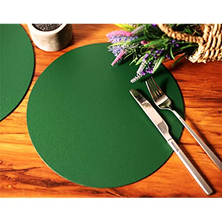 Set of 8 Charcoal Elementary Round Leatherboard Placemats Tablemats Made in UK