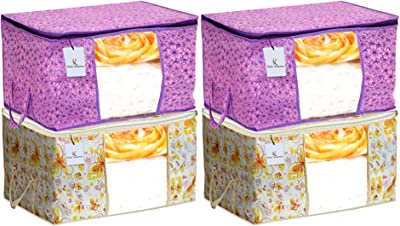 Heart Home Metalic Printed 4 Piece Non Woven Fabric Underbed Storage Bag,Cloth Organiser,Blanket Cover with Transparent Window, Pink Purple & Ivory Red - CTHH22960