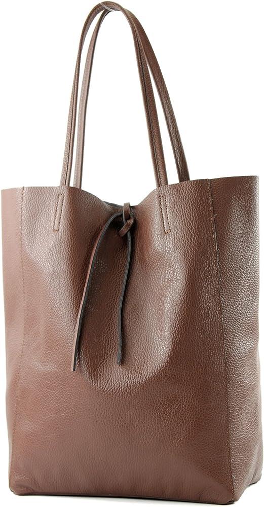 Modamoda de, borsa in pelle, shopper per donna a spalla, marrone T163B
